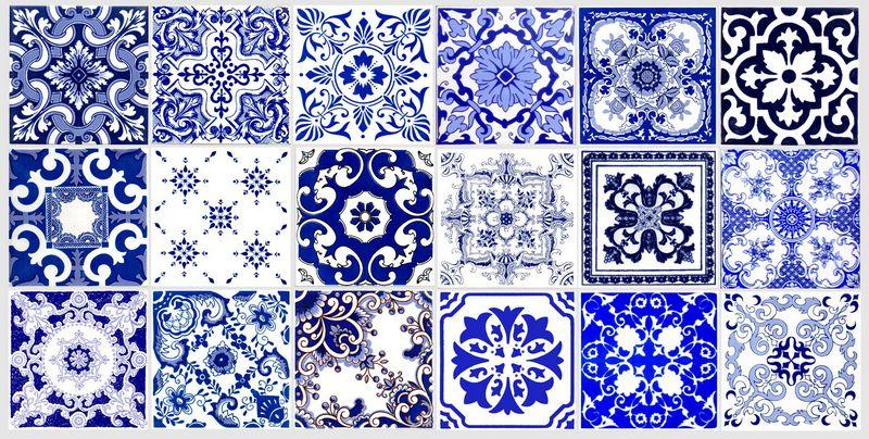 Azulejos portugueses kit azul azularte azulejos art sticos - Fotos en azulejos ...