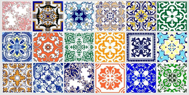 Azulejos portugueses kit colorido azularte azulejos for Casa dos azulejos lisboa